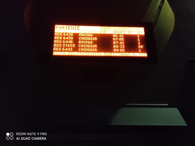 Una fotografia del display informativo della Chioggia-Rovigo