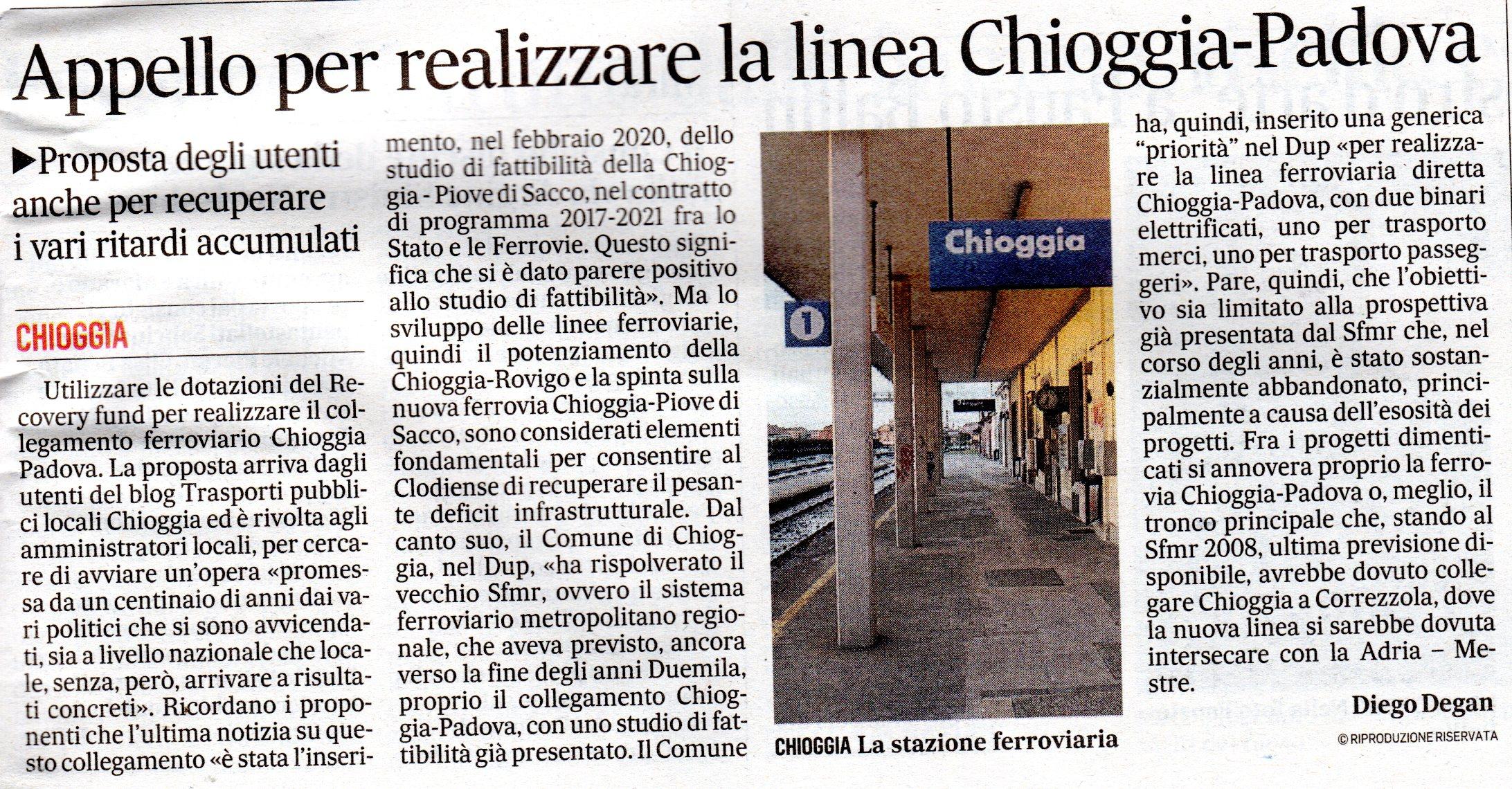 Appello per realizzare la linea Chioggia-Padova (Il Gazzettino di Venezia del 29 ottobre 2020)