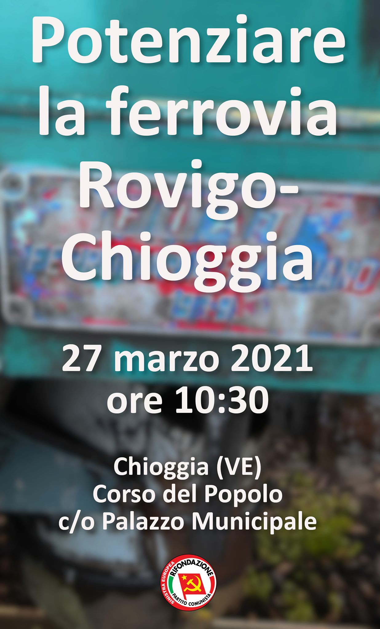 manifestazione per la ferrovia chioggia rovigo del 27 marzo 2021