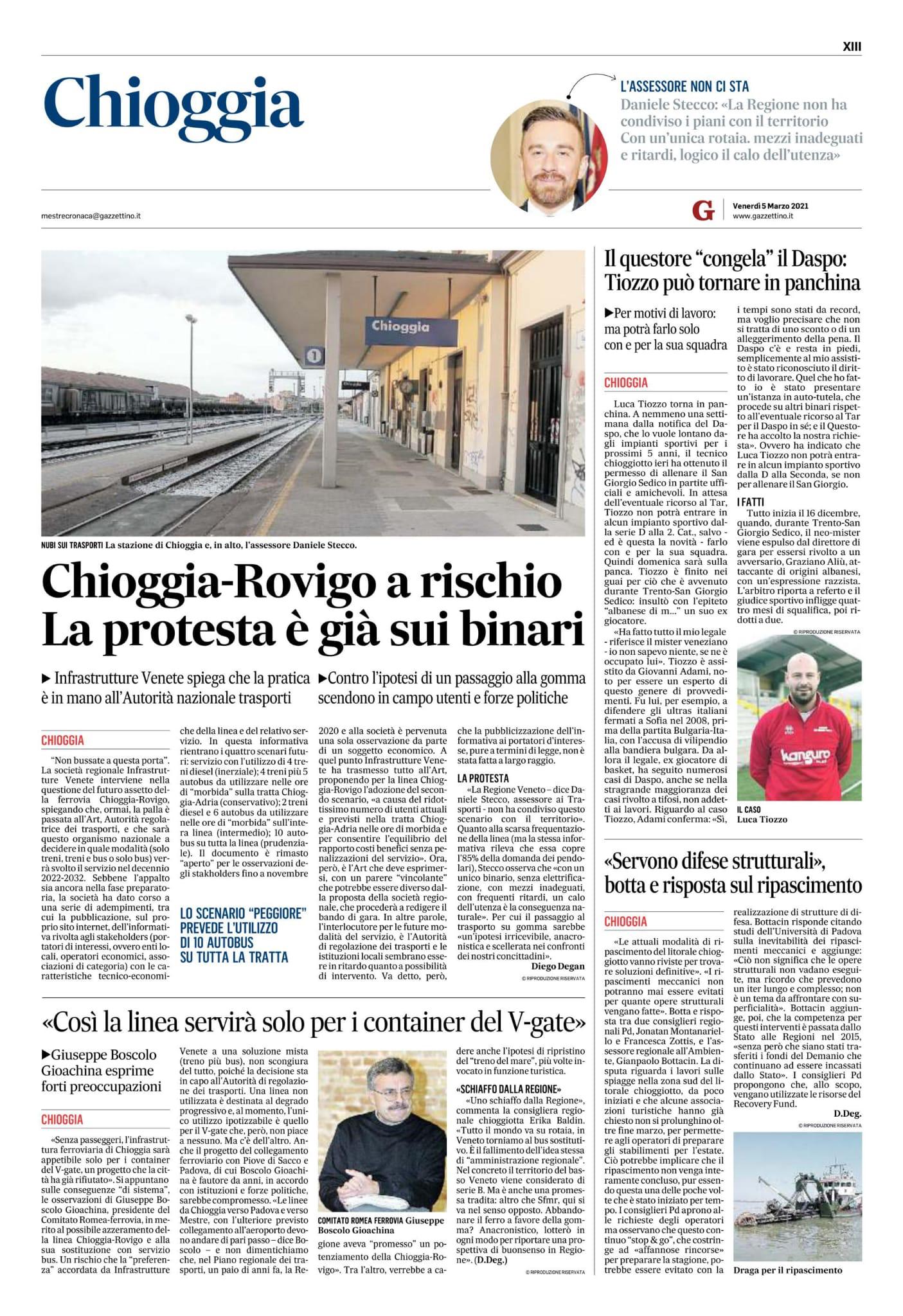 Chioggia-Rovigo a rischio, la protesta è già sui binari